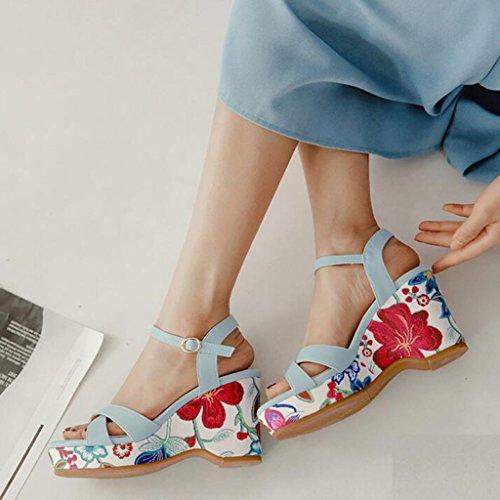 Imprimir Azul Moda Zapatos XW De EU36 Suela Blanco verano Verano de Gruesa Superior Tamaño Mujer UK4 mujeres CN36 Mujer PU Color chicas para Sandalias Tacones Pendiente Zapatillas z8xqdwO8F