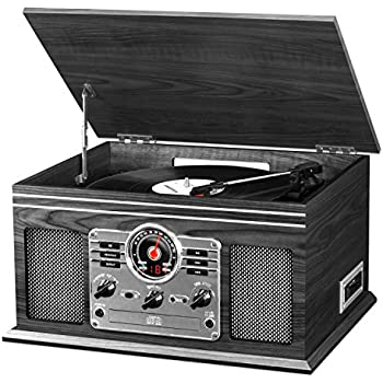 Victrola Nostalgic Classic Wood 6 In 1 Bluetooth Turntable Entertainment  Center, Graphite