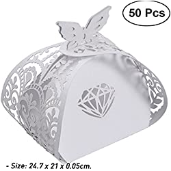 50Pcs Hollow Cross Style Wedding Candy Box Sweets Gift Favor Boxes With Ribbon Wedding Gifts For Guests Favors 10