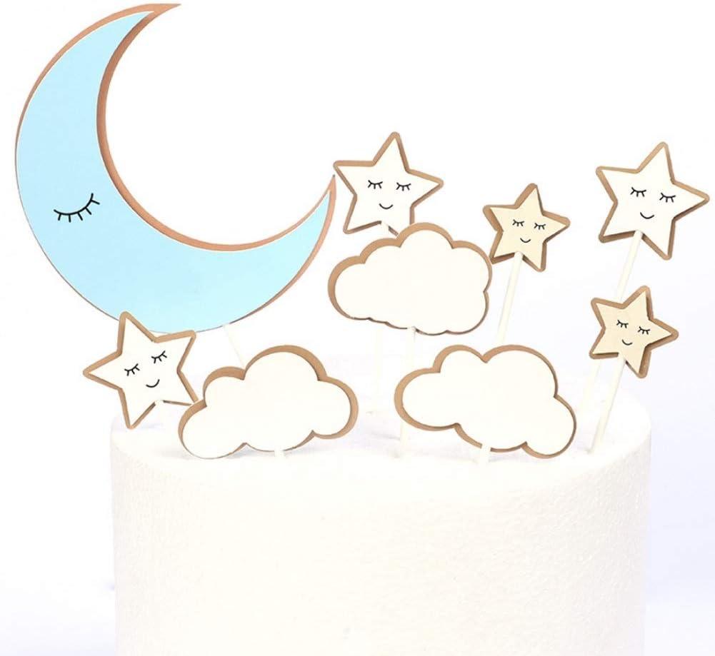 CheeseandU 36Pcs Moon Star Cupcake Toppers Good Night Moon Star with Cute Eyelash Cloud Cake Picks for Kids Birthday Party Baby Shower Gender Reveal Wedding Eid Mubarak Party Decorations,Blue