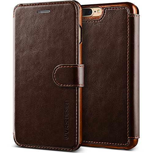 iPhone 7 Plus / 8 Plus Case, VRS Design [Layered Dandy Series] Slim Fit Premium PU Leather Wallet with 3 Card Slots (Coffee Brown)