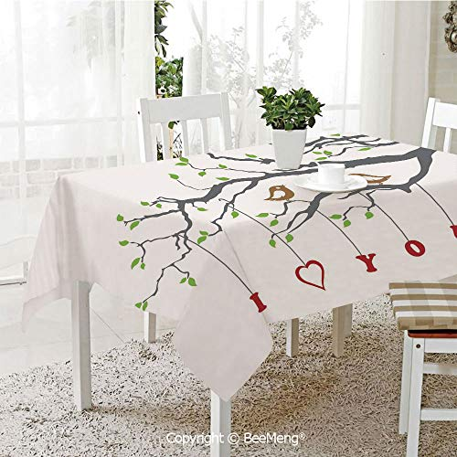 Dining Kitchen Polyester dust-Proof Table Cover,I Love You,Love Birds on A Tree Branch Romance Spring Inspiration Artwork Print Decorative,Grey Red Fern Green,Rectangular,59 x 59 inches