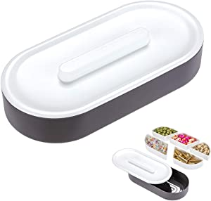 Multi Sectional Snack Divided Serving Tray with Lid, Oval 5 Sections Nuts and Candy Snack Food Storage Container, Removable Compartments, Moistureproof, BPA Free (Grey)