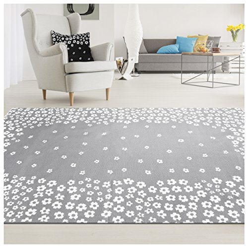 Superior 100% Cotton Area Rug, Charming Wildflower Pattern, Floral Printed Flat Weave Cotton Rug - Grey, 5' x 8' Rug (Wildflowers Rug)
