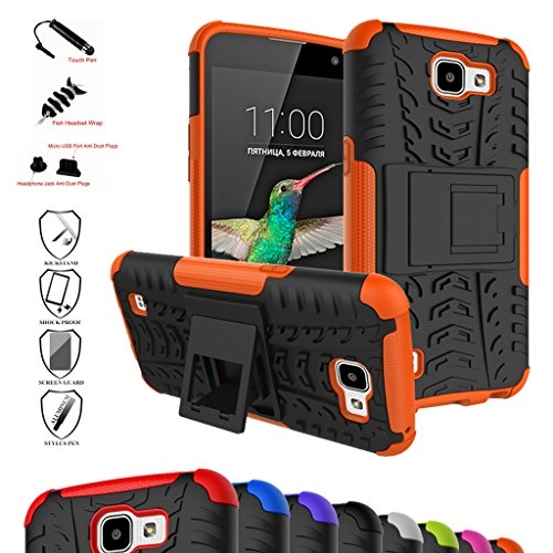 LG K4 Case,Optimus Zone 3 Case,Spree Case,Mama Mouth Shockproof Heavy Duty Combo Hybrid Rugged Dual Layer Cover with Kickstand For LG K4/Optimus Zone 3/LG Spree (With 4 in 1 Free Gift Packaged),Orange