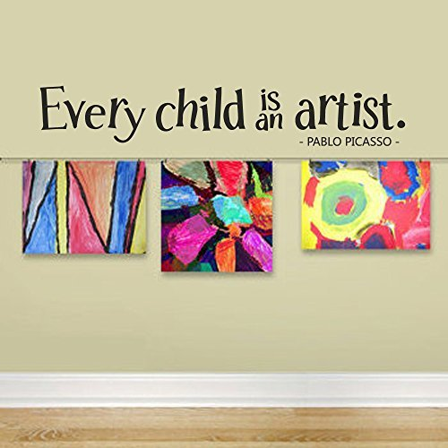 Wall-Decal-Decor-Picasso-Wall-Decal-Quote-Every-Child-is-an-Artist-Wall-Decal-Children-Artwork-Display-Decal-Playroom-Vinyl-Art-Sticker-brown-4h-x22w