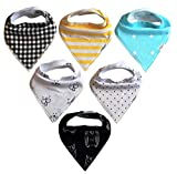 Image of ProMommies Baby Bandana Bib Set, 6-Pack Ultra Absorbent, Soft and Stylish Organic Drool Bibs, Perfect Baby Shower Gift Set for Boys and Girls