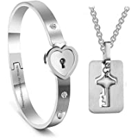 University Trendz New Design Heart Lock and Key Stainless Steel Couple Bracelet Pendant Set for Lovers Men and Women (Silver)