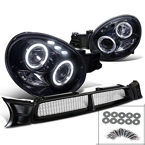 Impreza Glossy Black Halo LED Projector Headlights+Mesh Hood Grill