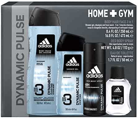 Adidas Fragrance Home & Gym Dynamic Pulse 4-Piece Gift Set With Eau De Toilette, Body Wash X2, And Deoderant Body Spray, 3 Pound