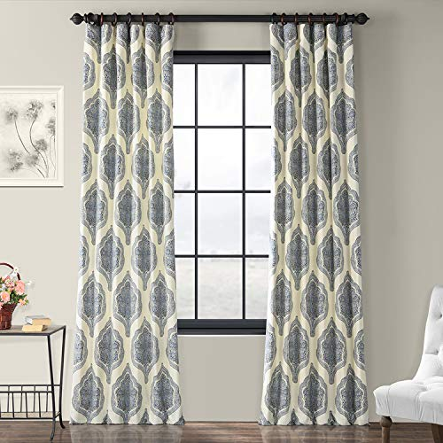 Half Price Drapes PRTW-D37-84 Printed Cotton Twill Curtain, Arabesque Blue from HPD Half Price Drapes