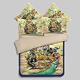 zhENfu Novelty Duvet Cover Sets 4 Piece Polyester 3D Reactive Print Polyester Queen 1pc Duvet Cover 2pcs Shams 1pc Flat Sheet,Queen,Yellow