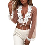 Women blouses, Kimloog Long Sleeve Lace Embroidered Mesh Short Tops see through casual solid Shirt (L, Coffee)