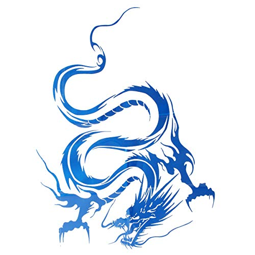 Exterior Accessories Car Stickers Decals - Car Hood Body Vinyl Graphic Wrap Decal Dragon Sticker Black Racing Sport Reflect - Blue - 1 x Car Sticker Note: 1. Due to different producing batch -