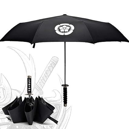 UNPYHN Imitación de Espada Samurai Paraguas a Prueba de Viento Ninja Negro Tri - Fold asa