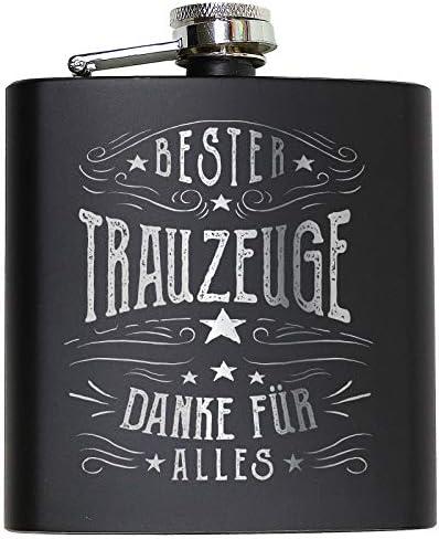 Trauzeuge & Trauzeugin Flachmann Geschenk Hochzeit Alkohol Mann Frau lustig fragen Geschenkidee Holz - Bester Trauzeuge