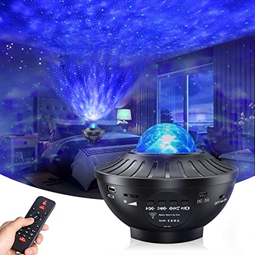 Star Projector Night Light , AIRIVO Ocean Wave Nebula Starry Projector, Galaxy Projector for Bedroom/Home Theatre/Party Bluetooth Adults Kids with Music Speaker, Voice & Remote Control