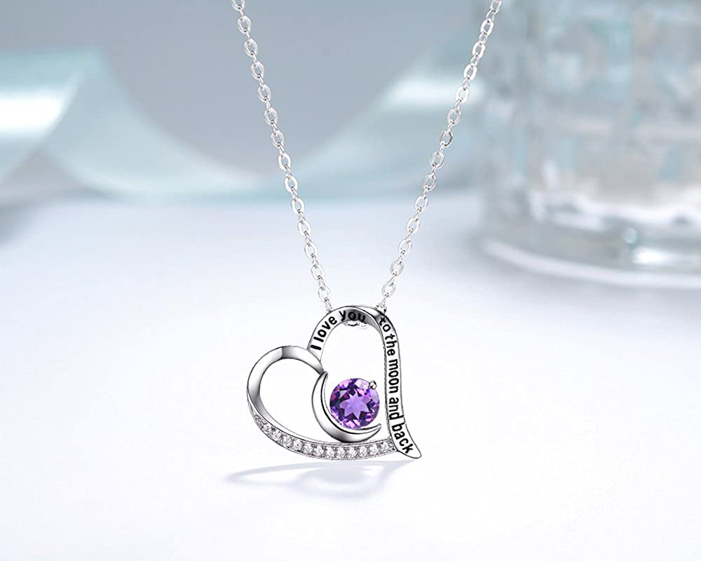 Elda/&Co Natural Amethyst Gemstone Necklace February Birthstone Jewelry I Love You to The Moon and Back Sterling Silver Jewelry Anniversary Birthday Gift for Women Wife Grandma Girls