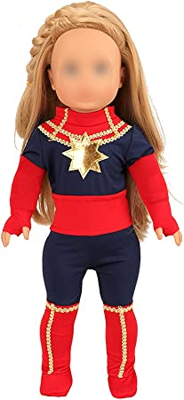 Miunana American 18 Inch Girl Doll Clothes for Includes 1 Jumpsuit + 2 Gloves + 2 Cloth Boots