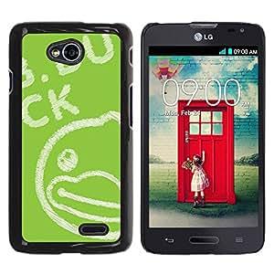 Paccase / SLIM PC / Aliminium Casa Carcasa Funda Case Cover para - Green Drawing Blackboard Chalk - LG Optimus L70 / LS620 / D325 / MS323