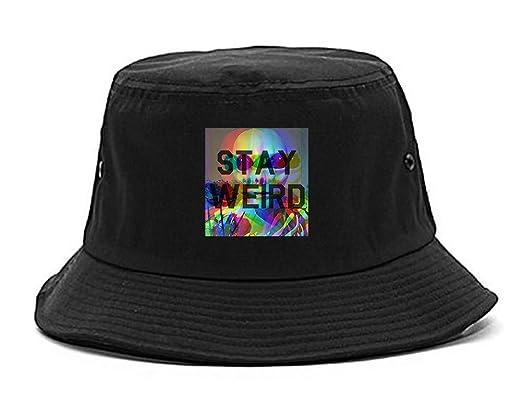 417e6e3ca Amazon.com: Stay Weird Alien Psychedelic Bucket Hat Black: Clothing