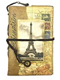 iToolai Women's PU Leather Personalized Blank A6 Refillable Travel Writing Journals, Vintage Unlined Sketch Book, Spiral Dairy Soft Cover Binder(Effel Tower)