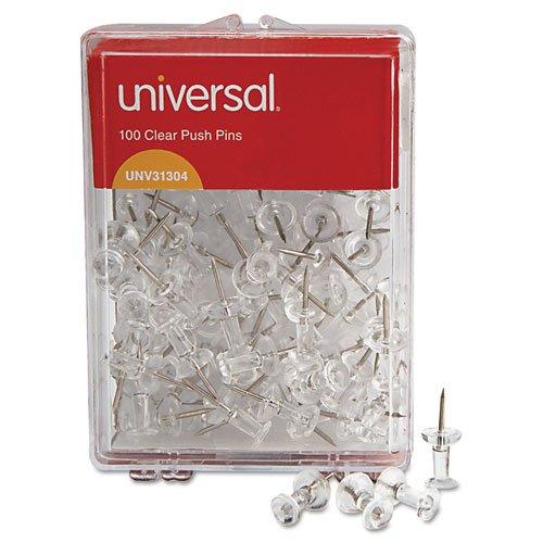 "UPC 641438018092, Universal - Colored Push Pins, Plastic, Clear, 3/8"", 100/Pack 31304 (DMi PK"