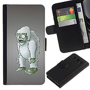 """SAMSUNG Galaxy S3 III / i9300 / i747 , la tarjeta de Crédito Slots PU Funda de cuero Monedero caso cubierta de piel ("""" Zombie Yet Snowman Furry Figurine 3D Art"""")"""