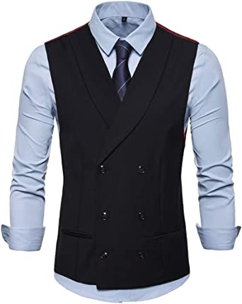 GREFER-Mens Waistcoat Vest Plus Size Tweed British Style Grey Suit Vest for Men Big and Tall