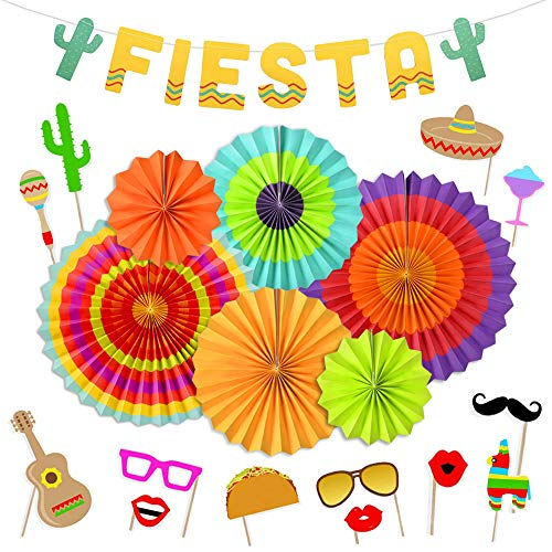 KREATWOW Fiesta Party Supplies Decorations Fiesta Photo Booth Props for Mexican Birthday Party Cinco De Mayo Decorations - Mexican Real Photo