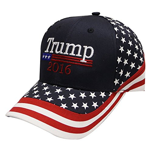 Us01 Trump with American Flag Baseball Cap Navy