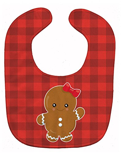 Price comparison product image Caroline's Treasures Christmas Gingerbread Girl Baby Bib, Red, Large