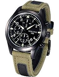 YISUYA Military Army Stopwatch Men's Black Luminous Date Chronograph Watches Green Nylon Bracelet