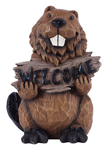 (Beaver Holds Welcome Sign Statue)