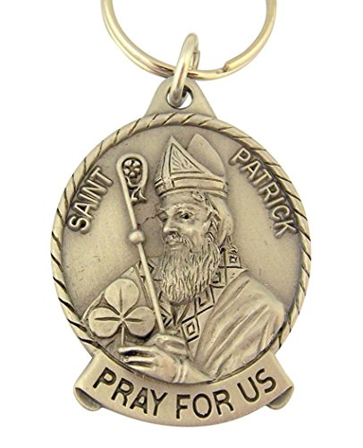 Patrick Medal Ring - Pewter Catholic Saint St Patrick Medal Key Chain, 2 Inch