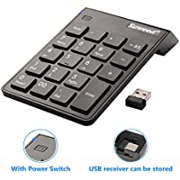 Sunreed Numeric Keypad, 19 Keys Wireless USB Number Pad Keyboard with 2.4G Mini USB Numeric Receiver for Laptop Desktop PC Notebook, with Power Switch, USB Receiver Can Stored