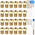 24 Pieces Extruder Nozzles M6 3D Printer Brass Nozzles Print Heads with 10Pcs Nozzle Cleaning Kits for 3D Printer Makerbot by EAONE, 6 Sizes Nozzles(0.2mm,0.3mm, 0.4mm,0.5mm,0.6mm,0.8mm,1.0mm)