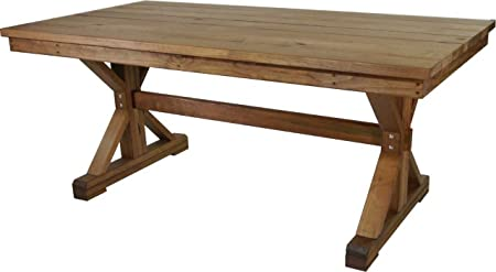 Burleson Home furnishings Outdoor X-Frame Farmhouse Dining Table