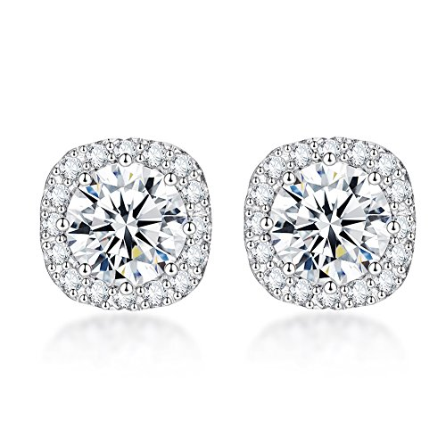 SENCLE S925 Sterling Silver with 18K White Gold Plated Square Cubic Zirconia Halo Stud Earrings for Women (Square Zirconia)
