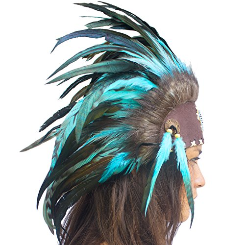 Unique Feather Headdress- Native American Indian Inspired- Handmade by Artisan Halloween Costume for Men Women with Real Feathers - Turquoise with ()