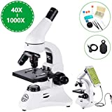 BEBANG Compound Monocular Microscope with 40X-1000X Magnification, All-Metal Optical Glass Lenses, Coarse and Fine Focusing, Extra 25X Widefield Eyepiece and Complete Accessories Kit