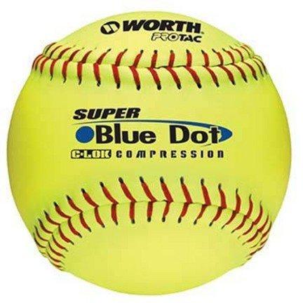 "Worth 12"" Super Blue Dot Softballs from 1 Dozen"