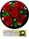 Jittasil Thai Hand-Carved Soap Flower Bouquet, 5 Inch Scented Soap Carving Gift-Set, Roses In Decorative Wood Case