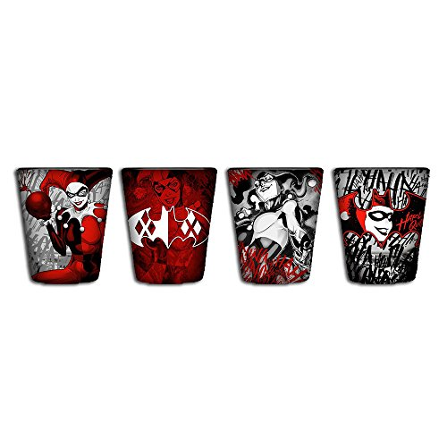 Harley Quinn Glasses (Silver Buffalo HQ110464 Harley Quinn Black & Red Mini Glasses,)