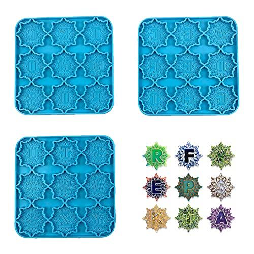 Molde de silicona p/ resina /abecedario - mandala 26 letras