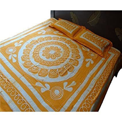 Kalaplanet Designer Orange Batik Print Double Bed Sheet