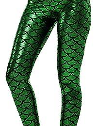 Alaroo Shiny Fish Scale Mermaid Leggings for Women Pants...