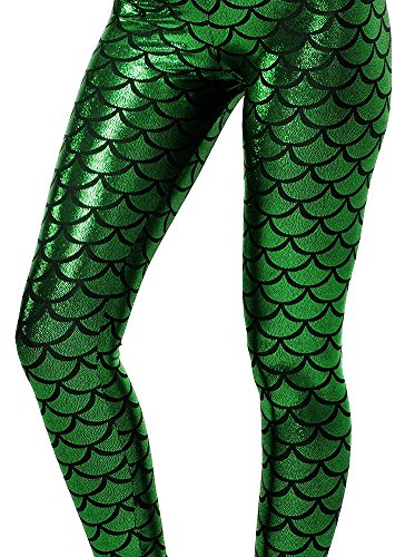 Alaroo Shiny Fish Scale Mermaid Leggings for Women Pants Green S
