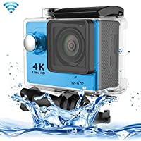 Professional Product Easy to Use H9 4K Ultra HD1080P 12MP 2 inch LCD Screen WiFi Sports Camera, 170 Degrees Wide Angle Lens, 30m Waterproof ( Color : Blue )