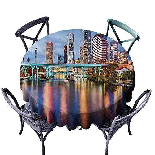VIVIDX Anti-Fading Tablecloths,City,Hillsborough River Tampa Florida USA Downtown Idyllic Evening at Business District,for Events Party Restaurant Dining Table Cover,55 INCH,Multicolor -